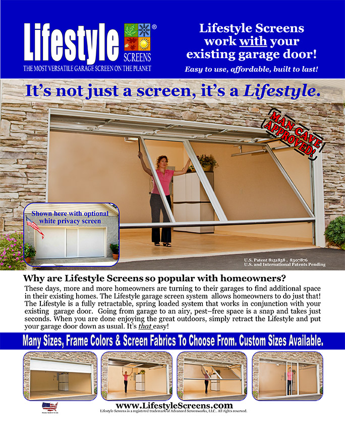Garage Screens, can be added to your exisiting garage door. Comes in many sizes, frame colours and screen fabrics. Custom sizes are available.